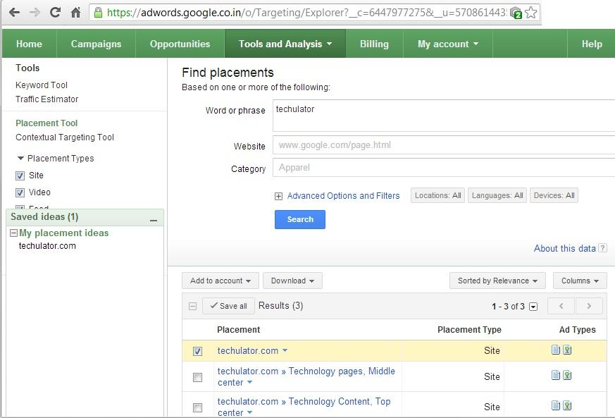 AdWords Placement Tool