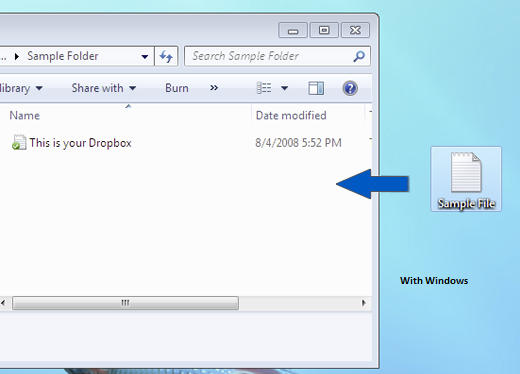 Add files to Dropbox With Windows