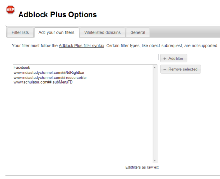 Adblock Plus Filter customization