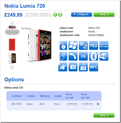 Nokia Lumia 720 How to buy it online from Clove UK