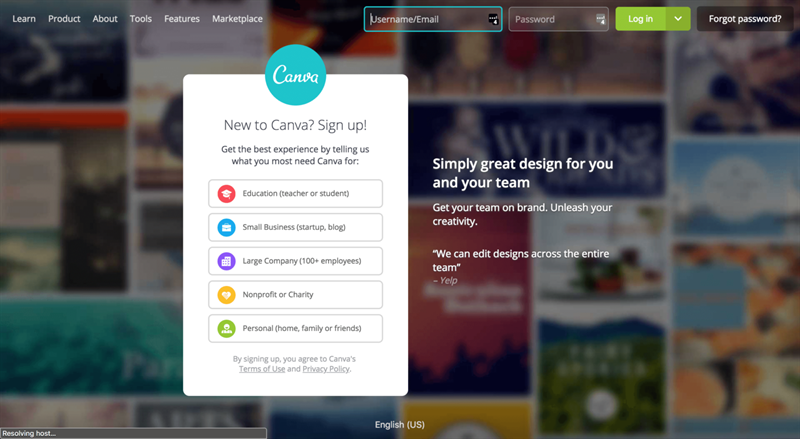 Canva Signup Page