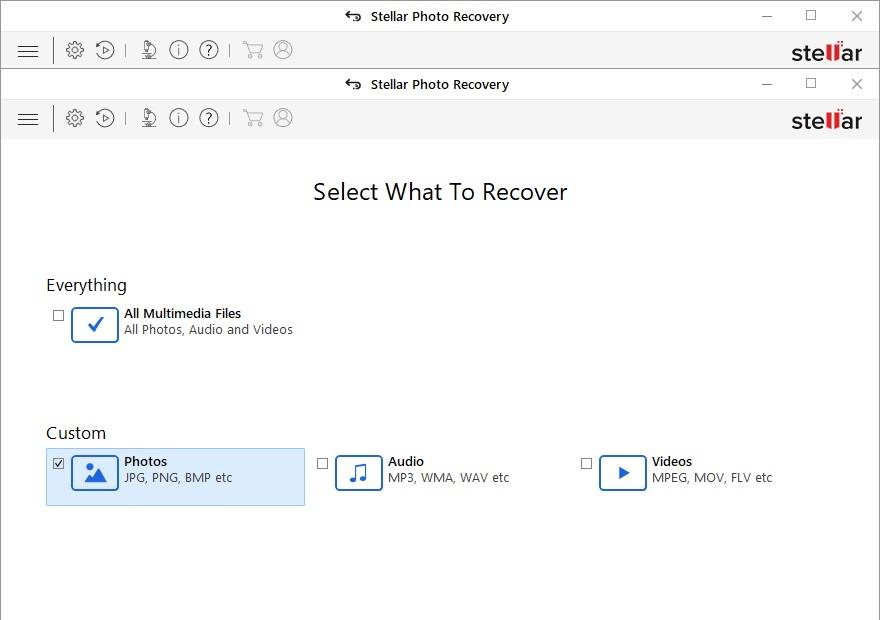 Stellar Photo Recovery main screen