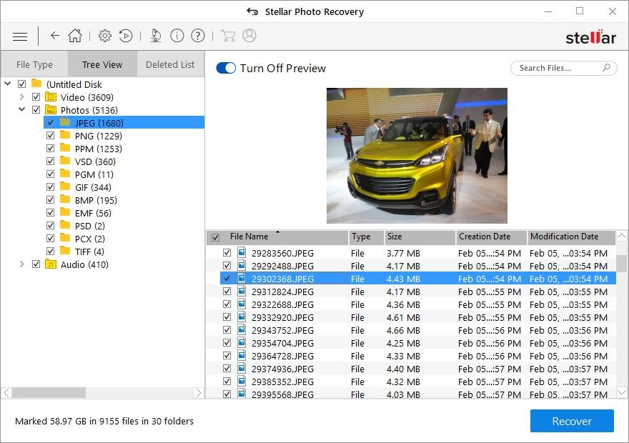 Recovered Images using Stellar Photo Recovery