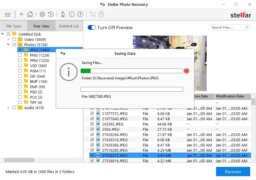 Image Recovery process on Stellar Photo Recovery