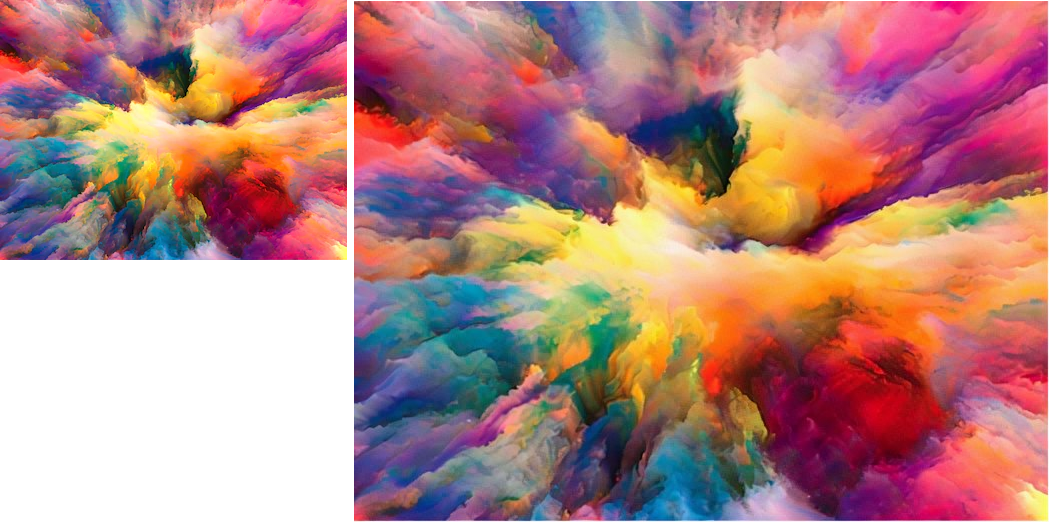 Color explosion enlarged image result AI Img