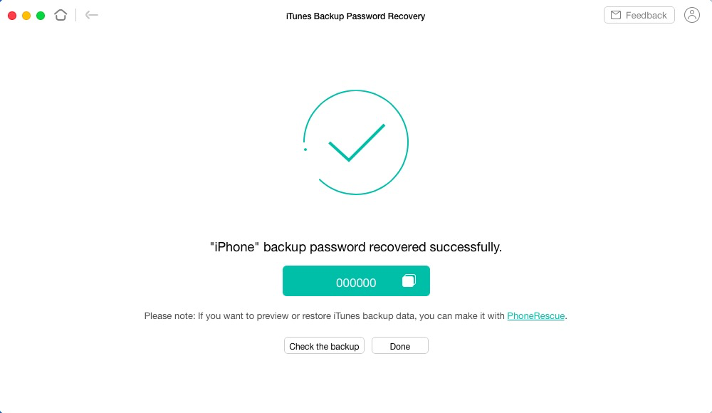 Recover the password for iTunes backups