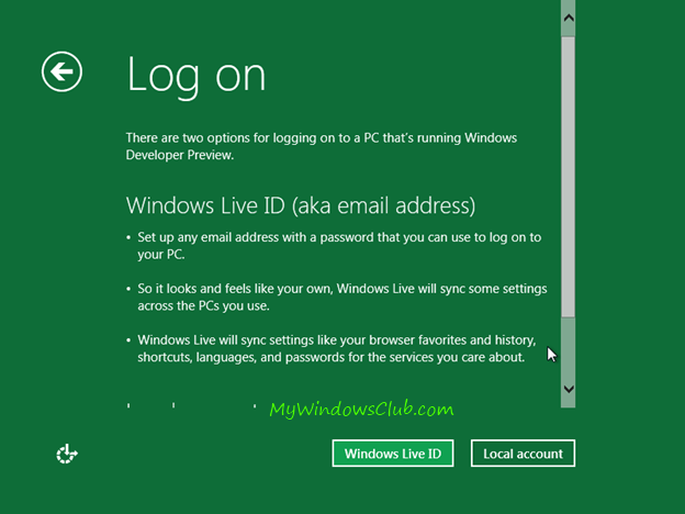 How to log on to Windows 8 account